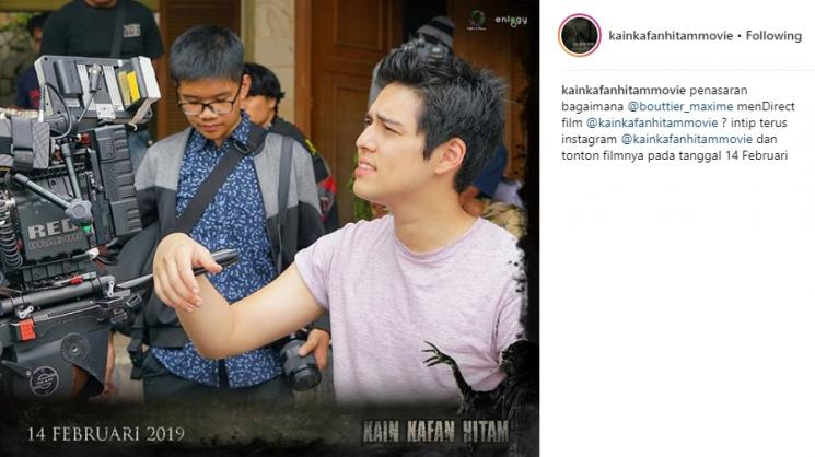 Kegiatan Maxime Bouttier jadi co-director film. (Instagram/@kainkafanhitammovie)
