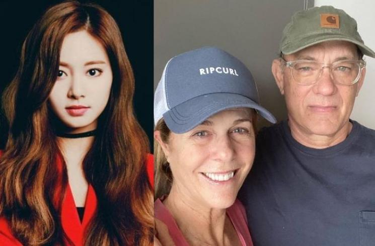 Tzuyu TWICE, Tom Hanks dan Rita Wilson. (allkpop, Instagram/@tomhanks)