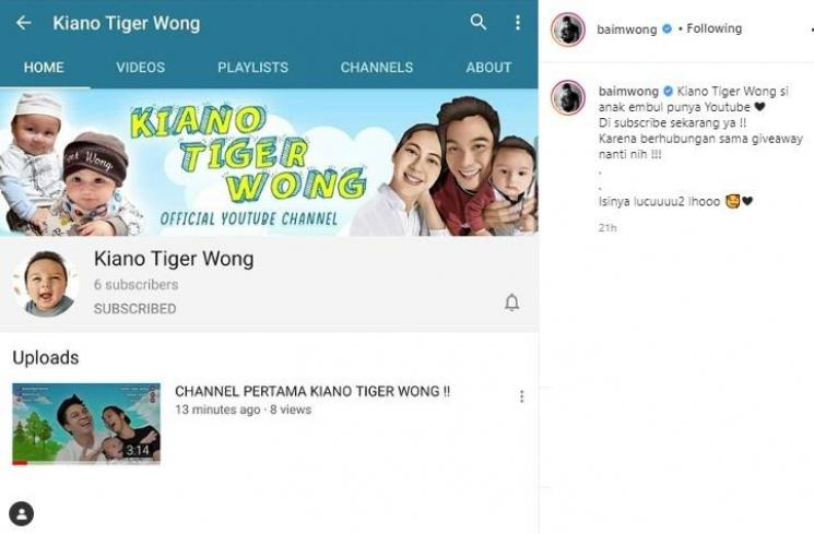 Channel YouTube Kiano Tiger Wong. (Instagram/@baimwong)