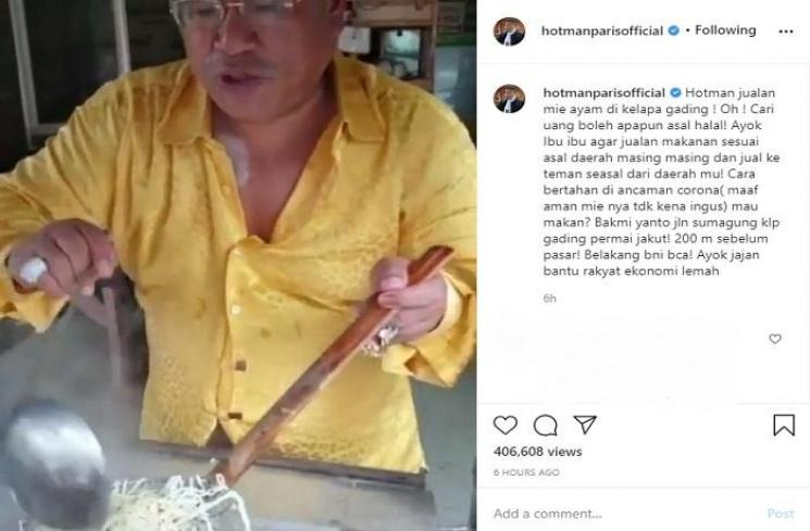 Hotman Paris jualan mie ayam (Instagram @hotmanparisofficial)
