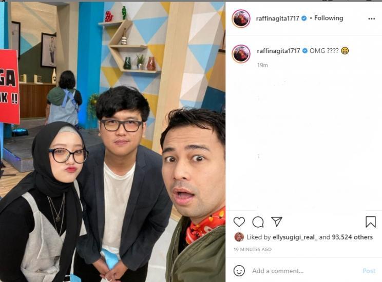 Raffi Ahmad selfie bersama Nissa Sabyan dan Ayus Sabyan KW. (Instagram/raffinagita1717)